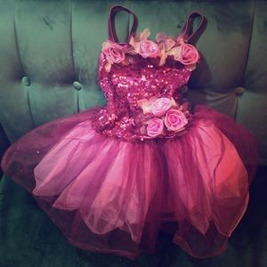 Purple ballet outfit with flowers and sequins